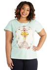 Cute as Can Beekeeper Tee in Plus Size - Jersey, Cotton, Knit, Mint, Multi, Novelty Print, Casual, Eco-Friendly, Short Sleeves, Scoop