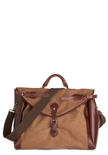 Work Weekender Bag - Tan, Brown, Solid, Buckles, Travel, Best, Leather, Woven