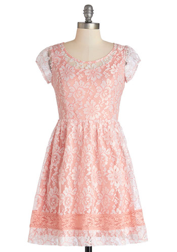 This is Flirty Dress - Lace, Daytime Party, A-line, Good, Scoop, Mid-length, Woven, Lace, Pink, Cap Sleeves