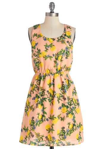 Lemony Thicket Dress - Multi, Novelty Print, Backless, Cutout, Casual, Fruits, A-line, Sleeveless, Good, Scoop, Woven, Mid-length, Summer, Sundress, Spring