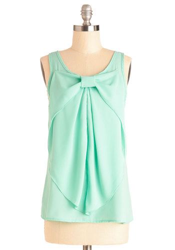 Hello, Bow! Top in Mint - Green, Sleeveless, Chiffon, Sheer, Woven, Mid-length, Mint, Solid, Bows, Work, Daytime Party, Pastel, Sleeveless, Spring, Summer, Good, Variation, Scoop