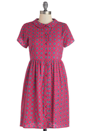 Prowling Around Town Dress in Pink Tile by Motel - Pink, Blue, Print, Buttons, Peter Pan Collar, Casual, Shirt Dress, Short Sleeves, Better, Collared, Woven, Variation, Vintage Inspired, 90s, Mid-length