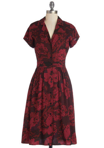 Waltz on a Whim Dress in Flowers by Motel - Black, Floral, Buttons, Casual, A-line, Shirt Dress, Cap Sleeves, Better, Collared, Woven, Red, Vintage Inspired, 40s, Variation, Valentine's, Long, 90s