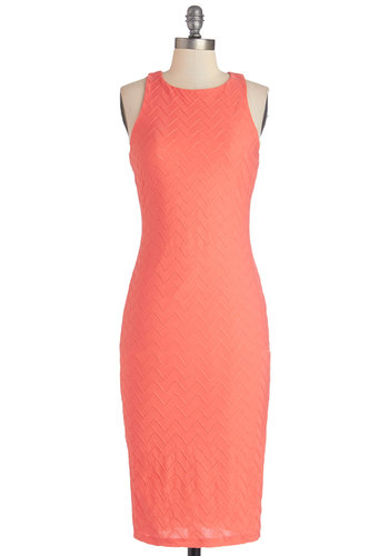 Sorbet Soiree Dress - Coral, Solid, Embroidery, Shift, Sleeveless, Good, Long, Knit, Crew, Casual