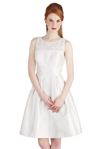 Kiss Come True Dress - Sheer, Knit, Woven, Mid-length, White, Solid, Lace, Pearls, Special Occasion, Bride, Fit & Flare, Sleeveless, Better, Scoop, Pleats, Prom, Wedding