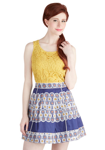 Daisy Trip Skirt - A-line, Good, Blue, Cotton, Woven, Short, Blue, Orange, Yellow, White, Floral, Trim, Casual, Spring, Summer, Festival