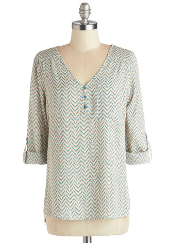 Hedge Fun Top - Woven, Mid-length, Multi, Blue, Chevron, Buttons, Work, Long Sleeve, Good, Multi, Tab Sleeve, Tan / Cream, Pockets, V Neck
