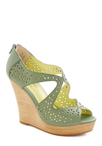 Caught My Eyes Wedge by Seychelles - Green, Cutout, Party, Daytime Party, High, Best, Platform, Wedge, Peep Toe, Leather, Solid