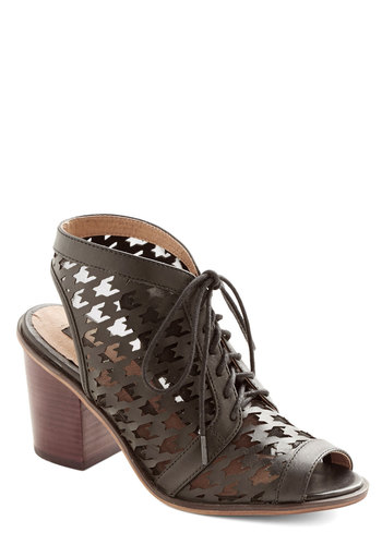 Style Shadow Heel by Kensie - Black, Sheer, Best, Lace Up, Peep Toe, Chunky heel, Slingback, Mid, Leather, Houndstooth, Cutout
