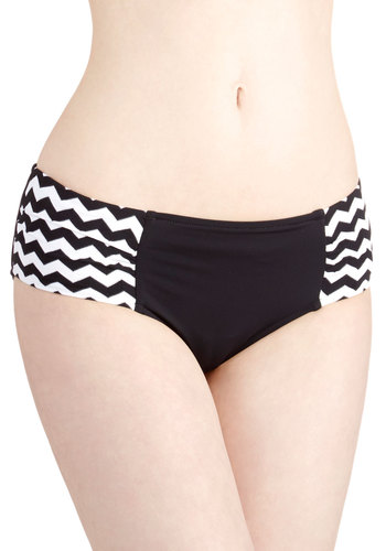 No Tide Like the Present Swimsuit Bottom by Seafolly - Knit, Black, White, Chevron, Beach/Resort, Summer, Underwire
