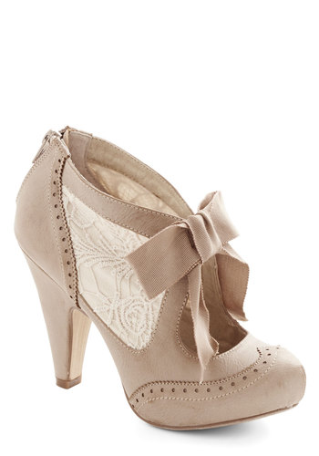 Drama Director Heel in Taupe - High, Faux Leather, Woven, Cream, Solid, Bows, Lace, Wedding, Party, Daytime Party, Valentine's, Vintage Inspired, Fairytale, French / Victorian, Darling, Good, Variation, Bride