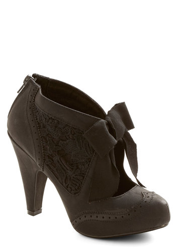 Drama Director Heel in Black - High, Faux Leather, Woven, Black, Solid, Bows, Lace, Wedding, Party, Vintage Inspired, French / Victorian, Darling, Good, Variation, Steampunk
