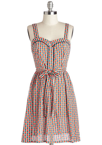 Playful Picnic Dress - Multi, Print, Belted, Casual, A-line, Tank top (2 thick straps), Good, Sweetheart, Trim, Mid-length, Pockets, Summer, Sundress, 90s