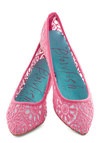 Befitting Beauty Flat in Pink - Flat, Woven, Pink, Crochet, Daytime Party, Variation