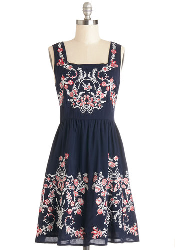 Supreme Saturday Dress - Woven, Mid-length, Blue, Embroidery, Casual, A-line, Tank top (2 thick straps), Better, Red, White, Buttons, Sundress