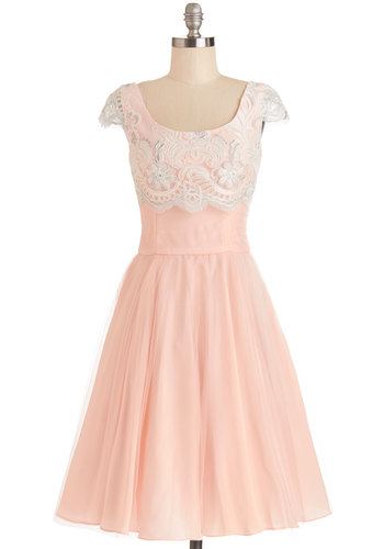 Breathtaking Belle Dress in Rose - Wedding, Bridesmaid, Sheer, Woven, Long, Pink, White, Crochet, Special Occasion, Cap Sleeves, Better, Scoop, Fairytale, Pastel, Exclusives, Variation, Prom, Fit & Flare