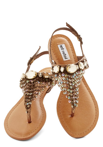 Time for a Chain Sandal - Flat, Faux Leather, Bronze, Rhinestones, Sequins, Beach/Resort, Luxe, Summer, Good, Chain, Statement