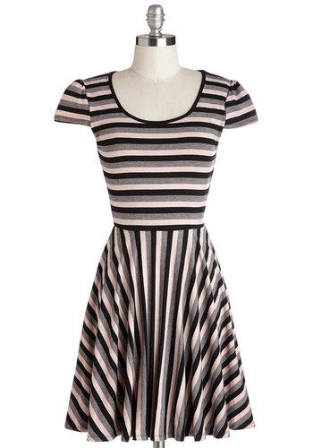 Know Your Lines Dress - Stripes, Casual, A-line, Cap Sleeves, Good, Scoop, Mid-length, Multi, Tan / Cream, Black, Grey, Top Rated