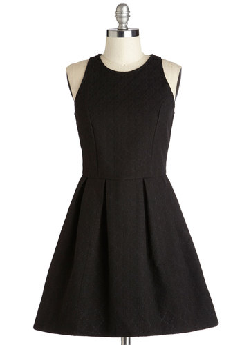 Proclaim Your Prowess Dress by Motel - Short, Black, Solid, Lace, Pleats, Party, LBD, Fit & Flare, Sleeveless, Better