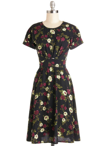 Maroon Afternoon Dress by Motel - Multi, Floral, Casual, Short Sleeves, Better, Long, Vintage Inspired, 40s, A-line