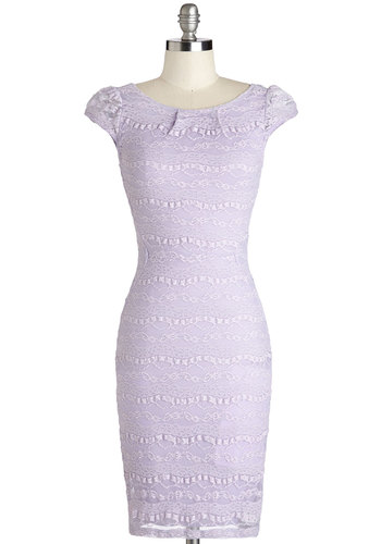 Lovely as Lavender Dress - Sheer, Knit, Lace, Mid-length, Purple, Solid, Wedding, Party, Bridesmaid, Shift, Cap Sleeves, Good, Pastel
