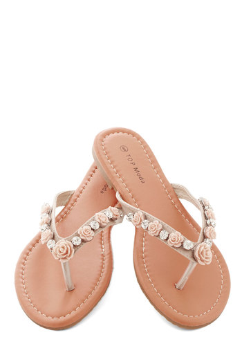 Shiny and You Sandal - Flat, Faux Leather, Tan, Pink, White, Flower, Rhinestones, Wedding, Fairytale, Summer, Good, Daytime Party, Statement
