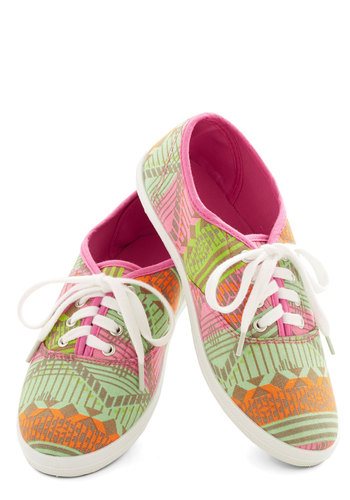 Let's Get Easygoing Sneaker in Festival Geo - Low, Woven, Print, Casual, Lace Up, Multi, Orange, Green, Pink, Variation, Statement