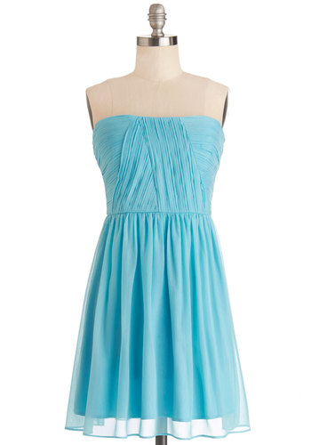 That Aqua Moment Dress - Short, Chiffon, Woven, Blue, Solid, Special Occasion, Wedding, Bridesmaid, A-line, Strapless, Better, Pleats, Prom