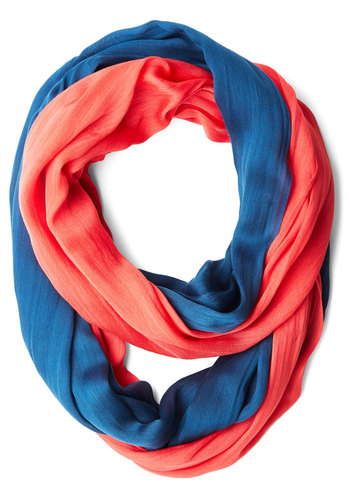 Two by Two-Tone Circle Scarf in Slate/Coral - Blue, Coral, Solid, Casual, Colorblocking, Variation, Good, Blue, Fall, Winter
