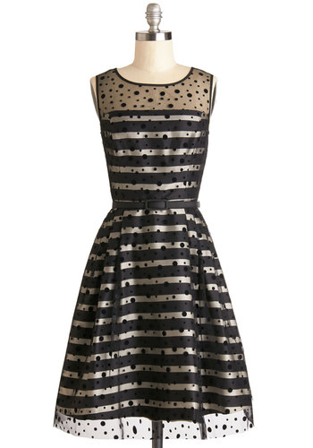 Spotted on the Scene Dress - Mid-length, Sheer, Knit, Woven, Black, White, Belted, Special Occasion, A-line, Sleeveless, Better, Scoop, Polka Dots, Stripes, Pockets, Party, Vintage Inspired, 50s, 60s, Prom, Homecoming