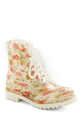 Lost in Spot Rain Boot in Floral - Low, White, Multi, Floral, Good, Lace Up, Vintage Inspired, 90s, Spring, Variation, Statement