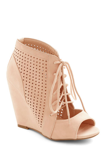 Perforate and See Wedge in Rose - High, Faux Leather, Solid, Cutout, Party, Daytime Party, Spring, Good, Lace Up, Peep Toe, Variation, Wedge, Pink, Statement, Pastel