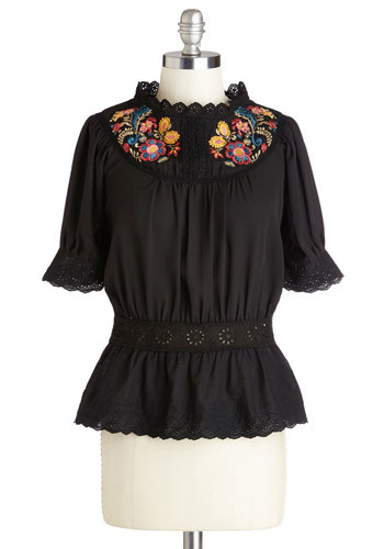 Foothill Thrills Top - Chiffon, Sheer, Woven, Mid-length, Black, Solid, Embroidery, Boho, Short Sleeves, Spring, Better, Black, Short Sleeve, Multi, Eyelet, Festival