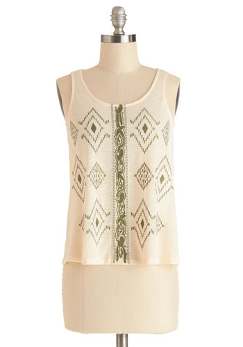 Back Sage Pass Top - Mid-length, Woven, Cream, Print, Embroidery, Summer, White, Sleeveless, Green, Casual, Tank top (2 thick straps), Scoop, Festival, Spring