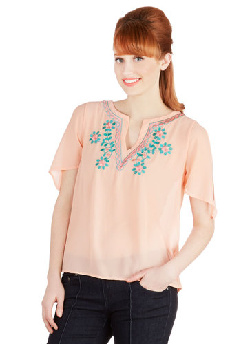 Guitar Lessons Top - Sheer, Woven, Chiffon, Mid-length, Pink, Blue, Embroidery, Casual, Boho, Pastel, Short Sleeves, V Neck, Festival, Pink, Short Sleeve
