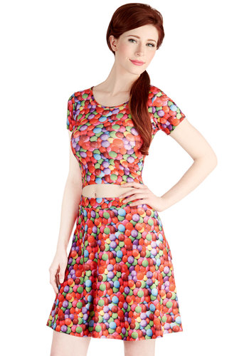 Gumball or Nothing Skirt - A-line, High Waist, Good, Mid-length, Knit, Red, Novelty Print, Party, Vintage Inspired, Red, Multi, Quirky, Statement