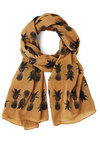 Strum Punch Scarf - Yellow, Black, Fruits, Better, Cotton, Sheer, Woven, Yellow, Novelty Print, Casual, Food, Beach/Resort