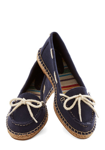All About Annapolis Flat in Navy - Low, Woven, Blue, Tan / Cream, Solid, Bows, Nautical, Spring, Braided, Casual