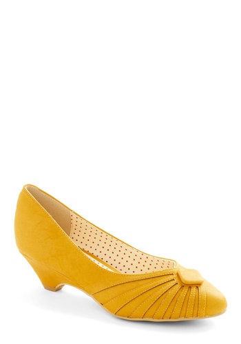 Burst of Fresh Flair Heel in Yellow by Bait Footwear - Mid, Faux Leather, Yellow, Solid, Party, Daytime Party, Vintage Inspired, 20s, 30s, Better, Variation, 40s, Press Placement