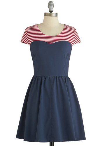 Respect Your Piers Dress by Kling - Blue, Red, Stripes, Casual, Nautical, A-line, Cap Sleeves, Better, Scoop, Spring, Mid-length, Americana