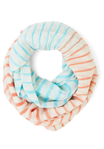 Confectionary Calling Scarf in Turquoise and Orange - Cotton, Sheer, Woven, White, Stripes, Casual, Better, Orange, Blue, Multi, Orange, Blue