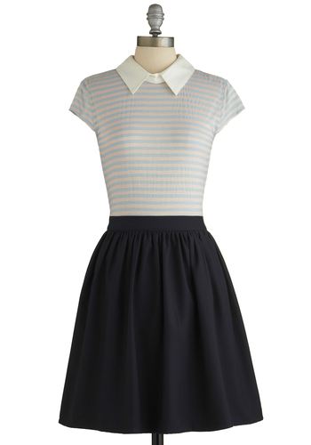 School Fundraiser Dress by Kling - Multi, Stripes, Casual, A-line, Twofer, Cap Sleeves, Better, Collared, Scholastic/Collegiate, Mid-length, Knit, Woven, Mixed Media