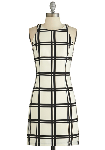 On the Grid Dress - White, Black, Checkered / Gingham, Party, Shift, Racerback, Good, Woven, Mid-length, Press Placement