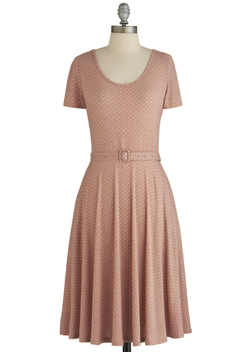 Morning Magic Dress - Pink, White, Polka Dots, Pockets, Belted, Casual, A-line, Short Sleeves, Good, Scoop, Knit, Long