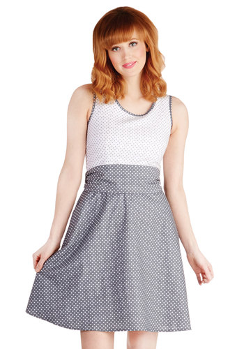 Make a Good Pinpoint Dress in Grey by Bea & Dot - Cotton, Woven, Grey, White, Polka Dots, Pockets, Party, Tank top (2 thick straps), Better, Scoop, Exclusives, Belted, Fit & Flare, Spring, Show On Featured Sale, Mid-length