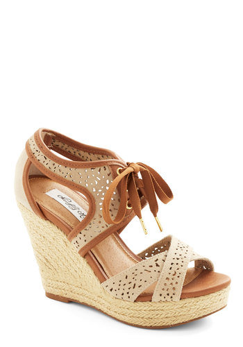 Bali Breeze Wedge in Sand - High, Leather, Suede, Cream, Tan / Cream, Solid, Cutout, Daytime Party, Spring, Better, Platform, Wedge, Espadrille, Lace Up, Variation, Beach/Resort