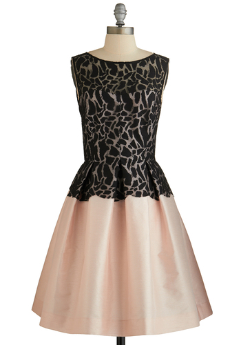Blushing Beauty Dress - Special Occasion, Prom, Black, Lace, Fit & Flare, Sleeveless, Better, Blush, Pleats, Woven, Mid-length, Sheer, Lace, Full-Size Run, Homecoming