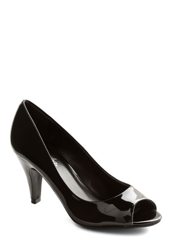 Signature Look Heel - Mid, Faux Leather, Black, Solid, Prom, Party, Cocktail, Minimal, Good, Peep Toe