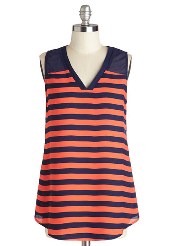 Style Upgrade Top in Navy - Good, Orange, Sleeveless, Long, Sheer, Orange, Blue, Stripes, Casual, Nautical, Sleeveless, Variation, V Neck