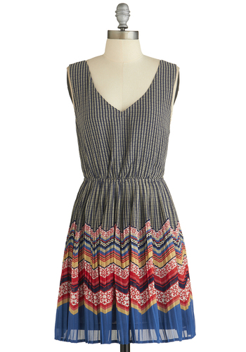 Movers and Printmakers Dress - Multi, Print, Casual, A-line, Sleeveless, Good, V Neck, Woven, Short, Chevron, Backless, Pleats